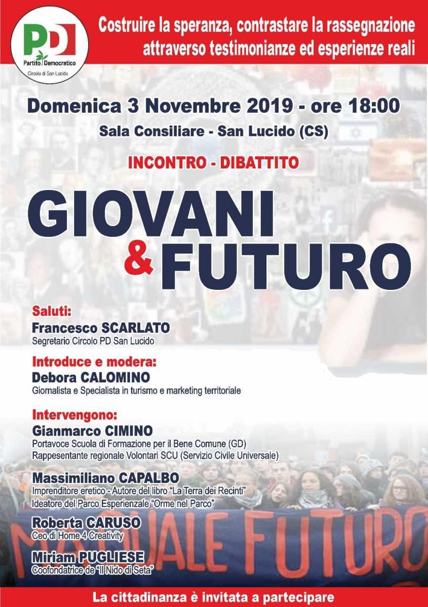 """Incontro dibattito """"Giovani e Futuro"""" circolo PD di San Lucido (CS)"""